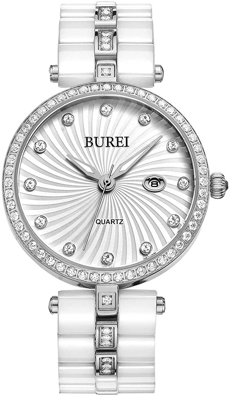 BUREI Women's Elegant Watches Day Date Two Tone Ceramic Band Wrist Watch for Ladies