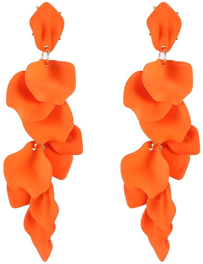 Long Rose Petal Dangle Earrings - Acrylic Resin Drop Big Rose Petal Flower Earrings for Women, Good Gifts for Everyday Wear, Christmas, Party, Date, Prom
