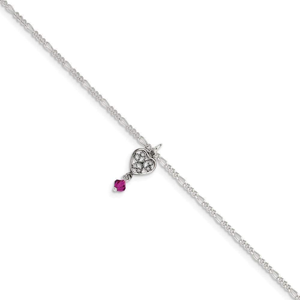925 Sterling Silver Dark Pink Crystals Dangling Hearts Anklet Ankle Beach Chain Bracelet Fine Jewelry For Women Gifts For Her