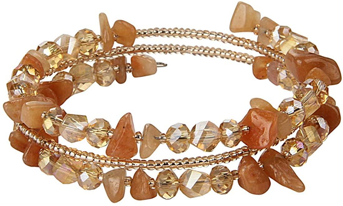 lancy's jewelry Charm Bead Bracelet Bohemian Crystal Colorful Stretch Bead Multilayer Bracelets for Women
