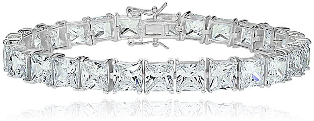 Hoops & Loops Sterling Silver Princess Cut White CZ Cubic Zirconia Classic Tennis Bracelet for Women