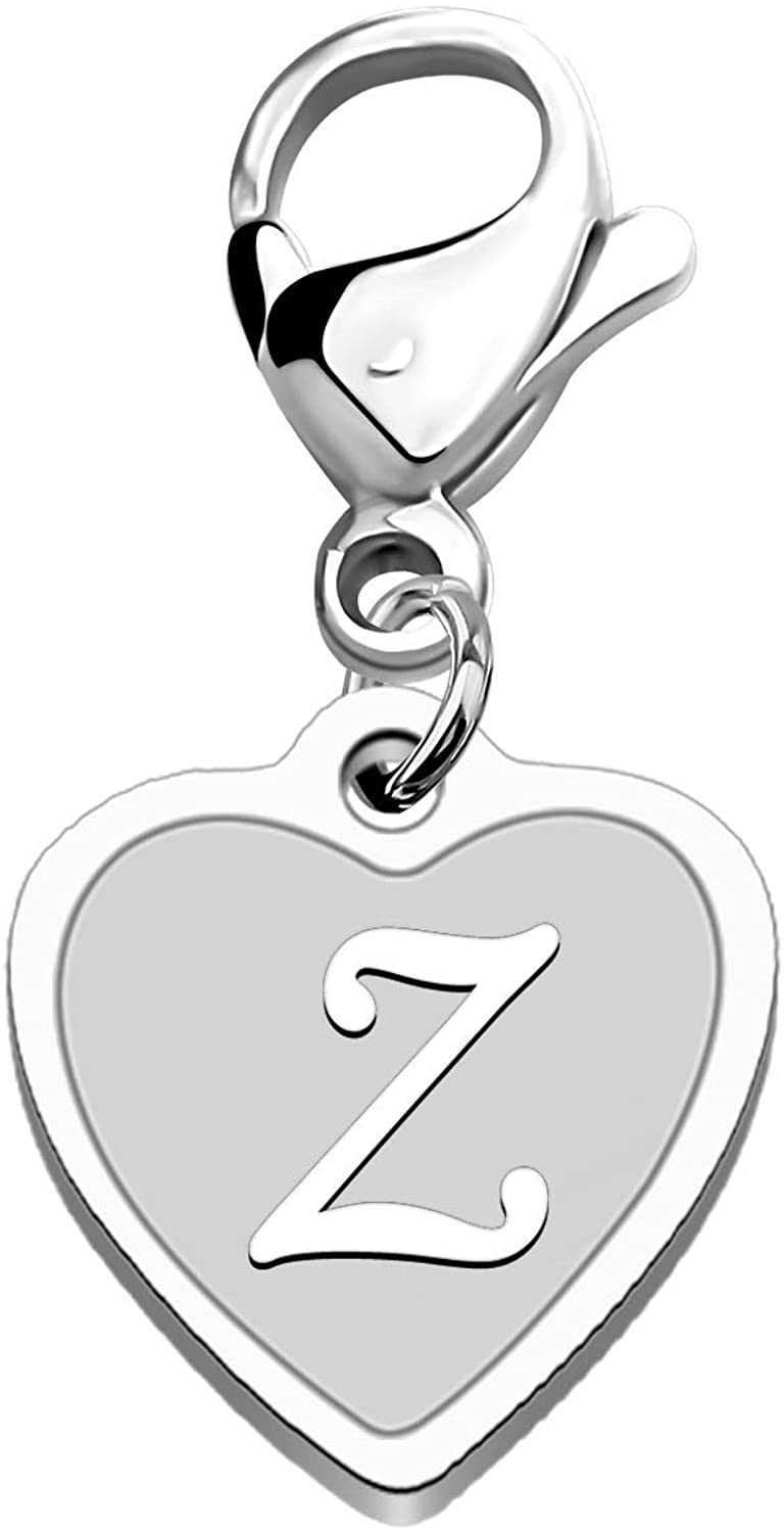FAADBUK Initial Letter A-Z Alphabet Heart Charm for Bracelet Necklace Keychain Initial Stainless steel Clasp Clip on Charm