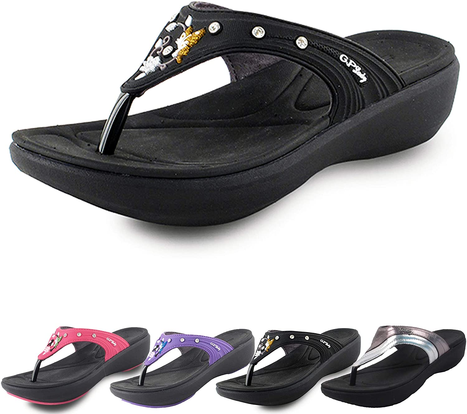 Gold Pigeon Shoes Comfort Memory Foam Padded, Light Weight, Low Platform Flip Flops for Women (Size 4-8)