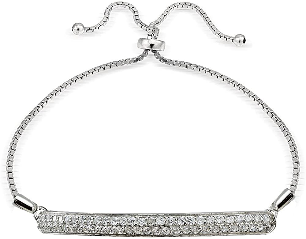 Hoops & Loops Sterling Silver Cubic Zirconia 2-Row Bar Adjustable Pull String Bracelet