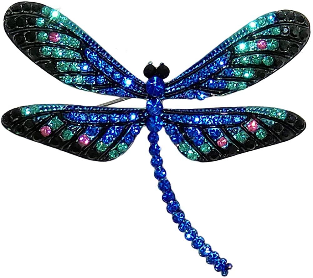 RUCINNI Dragonfly Brooch/Pendant with Preciosa Czech Crystals (30131/DBL)