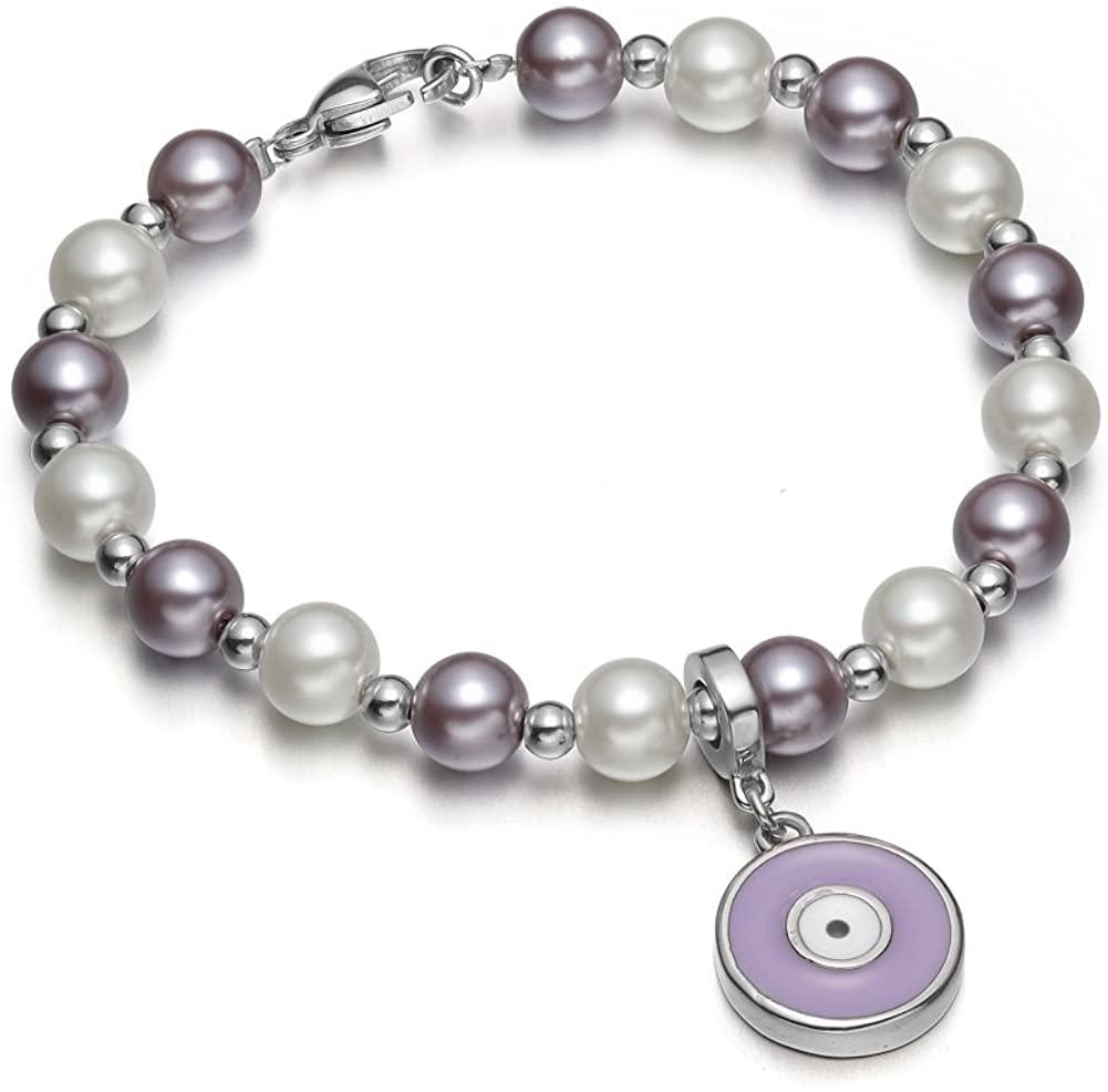 Amulet Positive Powers Simulated Pearl Cute Evil Eye Protection Magic Energy Bracelet