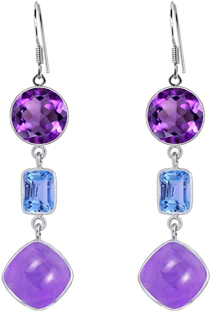 Orchid Jewelry 15.54 Ct Purple Amethyst 925 Sterling Silver Dangle Birthday Gifts For Women