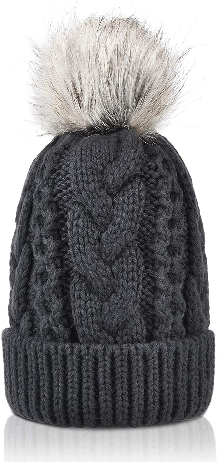 Winter Thick Cable Knit Faux Fuzzy Fur Pom Pom Sherpa Lined Skull Ski Cap Cuff Beanie
