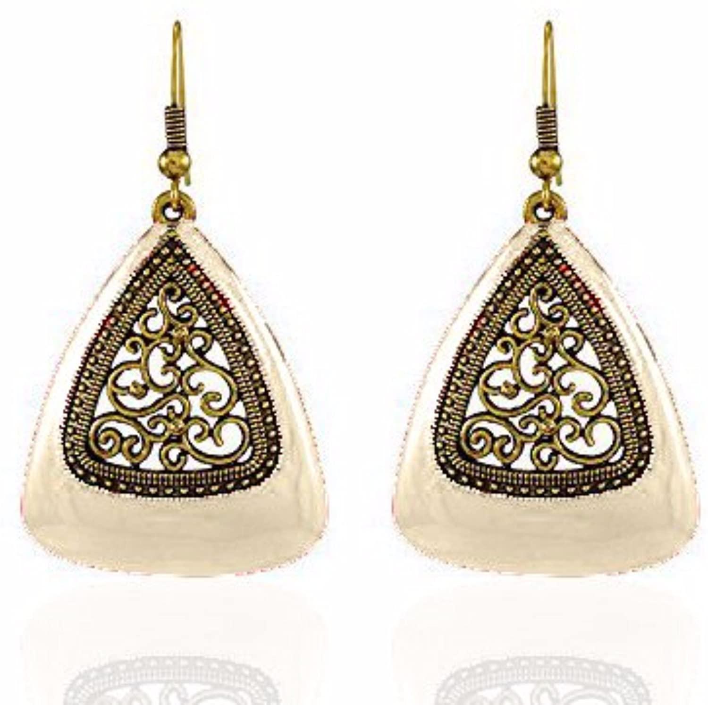 Efulgenz Indian Vintage Retro Ethnic Gypsy Oxidized Gold Tone Boho Enamelled Dangle Drop Hook Earrings for Girls and Women Love Gift