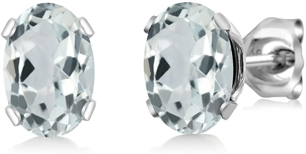 Gem Stone King 925 Sterling Silver Sky Aquamarine Stud Earrings (1.44 Cttw, Gemstone Birthstone 7X5MM Oval)