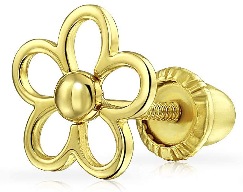 Tiny Minimalist CZ Accent Dainty Daisy Flower Helix Cartilage Ear Lobe Piercing Daith 1 Piece Stud Earring For Women Teen Cubic Zirconia Real 14K Yellow Gold Screwback