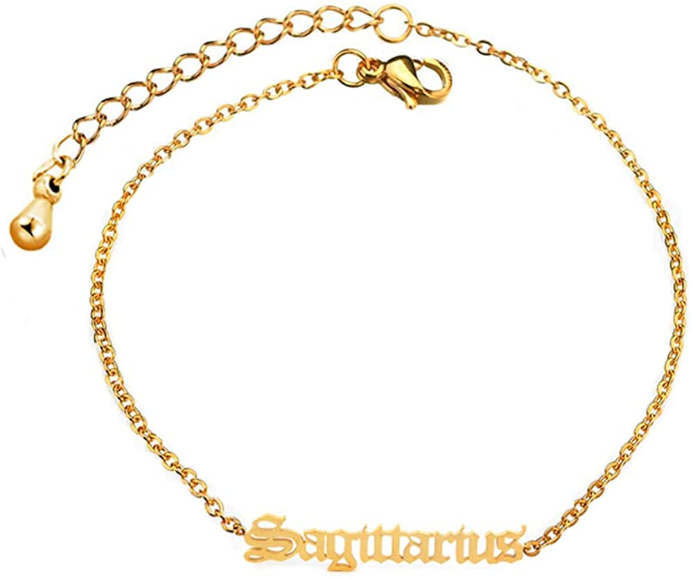 HUTINICE Gothic Old English Scorpio Leo Zodiac Bracelet for Women, 18K Gold Chain Horoscope Constilation Letter Bracelet Baby Girl Jewelry