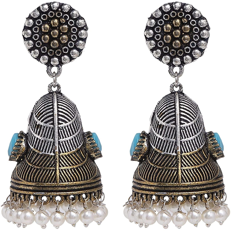 Ethnadore Bohemian Vintage Antique Indian Oxidized Silver Pearl Drop Floral Jhumki Dangle Earrings Set