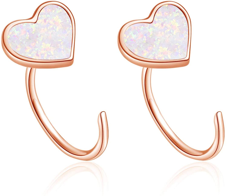 WINNICACA Sterling Silver Created Opal Ear Cuff Half Huggie Hoop Earrings Jewelry for Women Teens Birthday Gifts