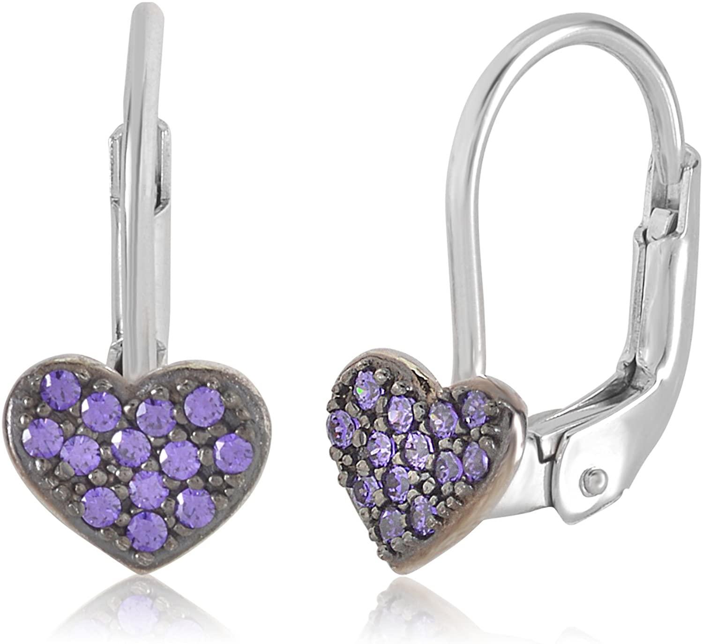 UNICORNJ Childrens 14k Gold Heart Colorful Leverback Earrings