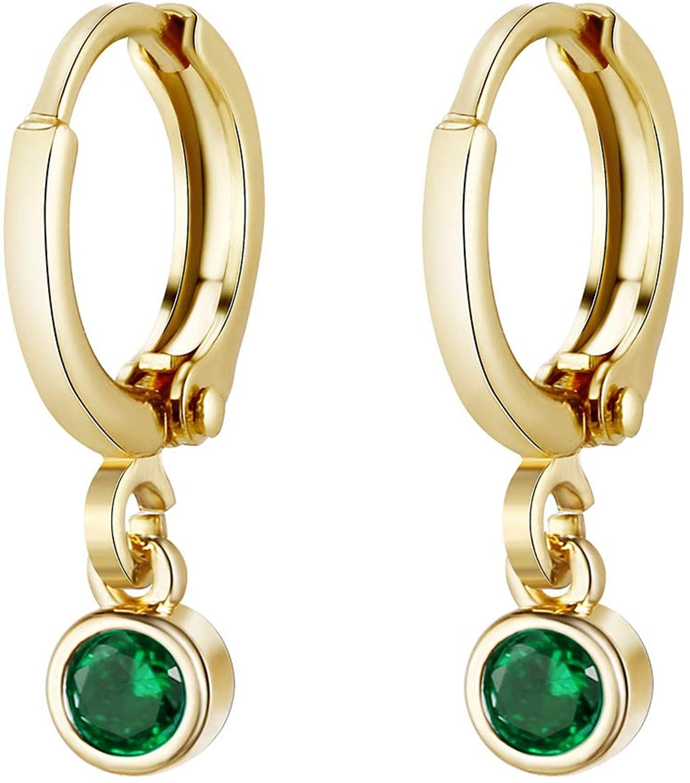 CHESKY 14K Gold Plated Tiny Dainty Birthstone Pendent Hoop Earrings Minimalist Dangle Leverback Earrings Emerald Crystal Sapphire Turquoise Huggie Hoop Earrings for Women Girls