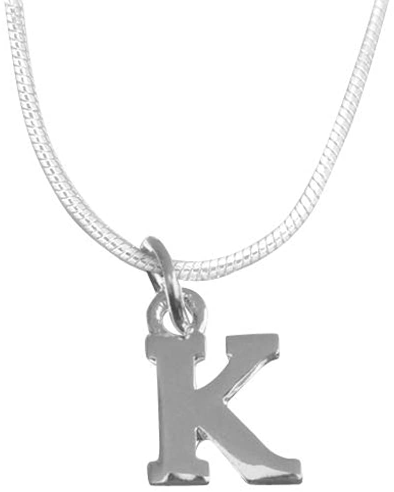 Fundraising For A Cause Silver Letter Shaped Alphabet Necklace in a Gift Box (1 Necklace in a Gift Box - Retail) (RE-N-03AL-K)