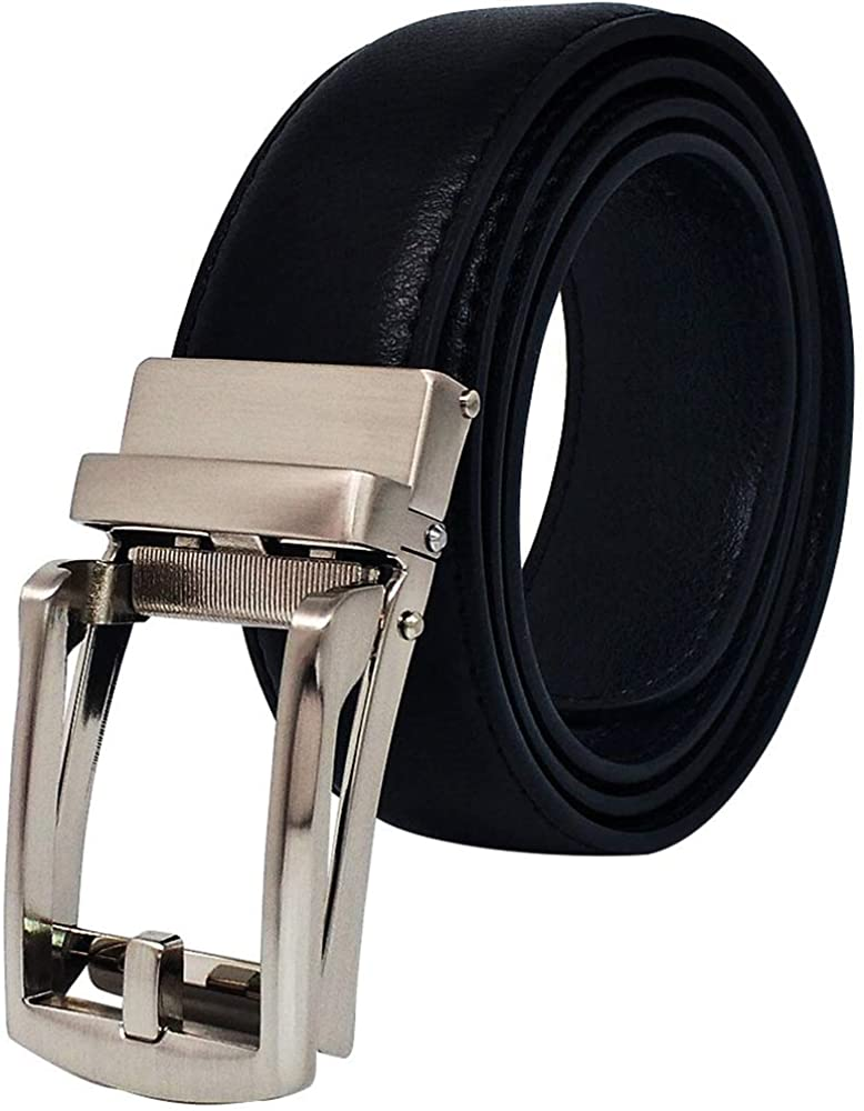 Men's Ratchet Genuine Leather Belts with Automatic Buckle for Waist Size 28