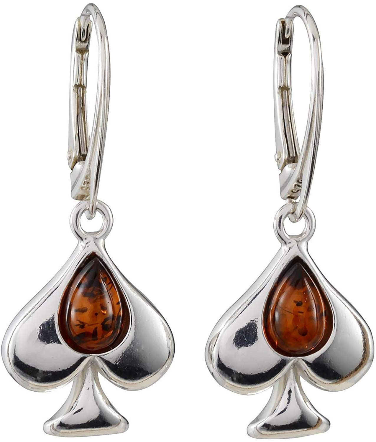 Sterling Silver and Baltic Amber French Leverback Honey Amber Ace Of Spades Earrings