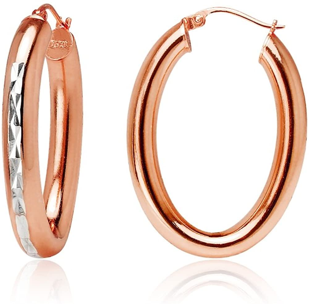 Sterling Silver 4.5mm Thick Oval Diamond-Cut Hoop Earrings, Size 25mm 30mm, Choose Color, One Pair Set