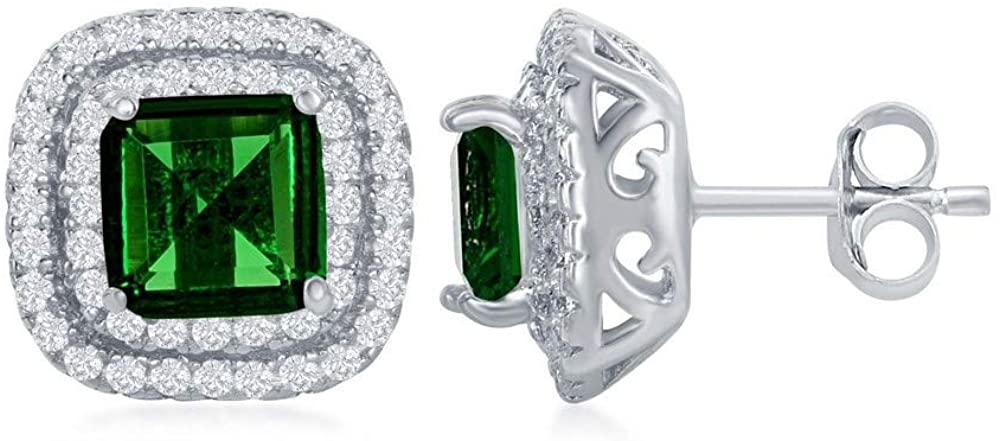 Sterling Silver Double Cubic Zirconia Border with Center Green, Yellow or Pink Cubic Zirconia Earrings