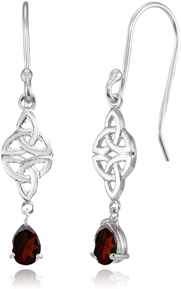 Sterling Silver Genuine or Created Gemstone Celtic Trinity Knot Teardrop Dangle Drop Earrings