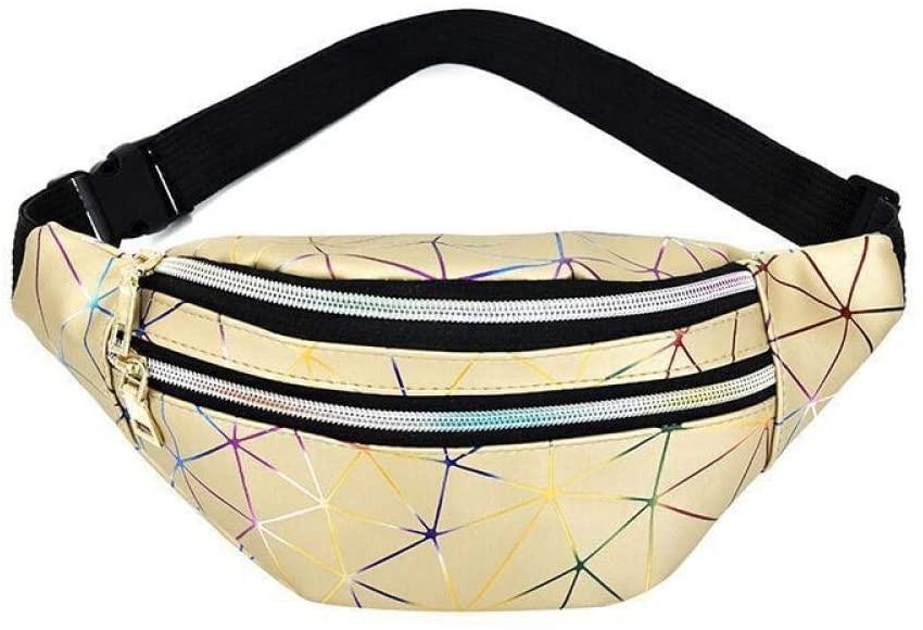 Fanny Pack, Women Waist Bag Personalized Rock and Roll Color Flashing Lattice Belt Bag Nerka Bum Bag for Keys Cards Mobile Phone Gold(Geometry)