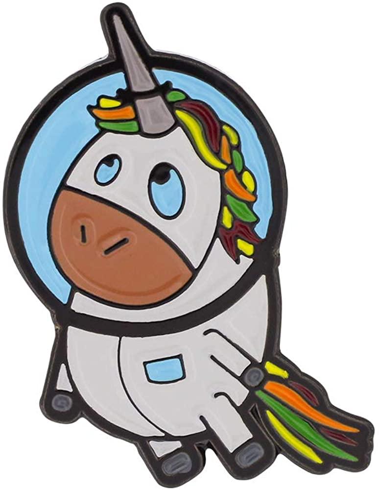 WIZARDPINS Rainbow Unicorn Astronaut Soft Enamel Black Dye Pin