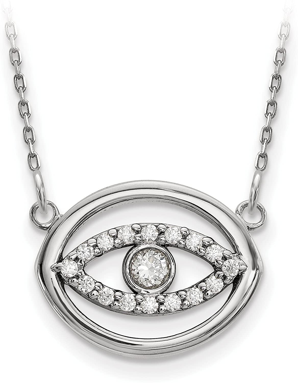 14k White Gold Diamond Halo Evil Eye Pendant Necklace 18inch for Women