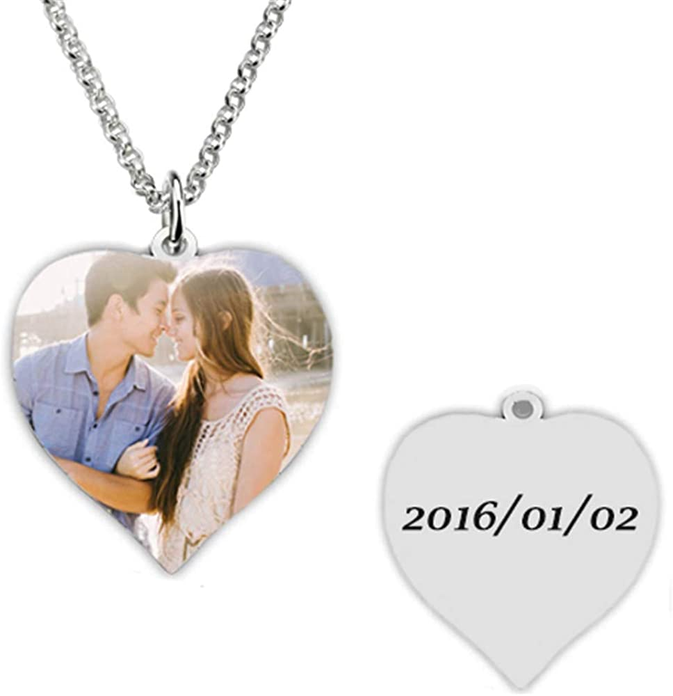 a266XDKSJK Necklace Custom Photo Necklace Heart Personalized Message Pendant Christmas Birthday Gift