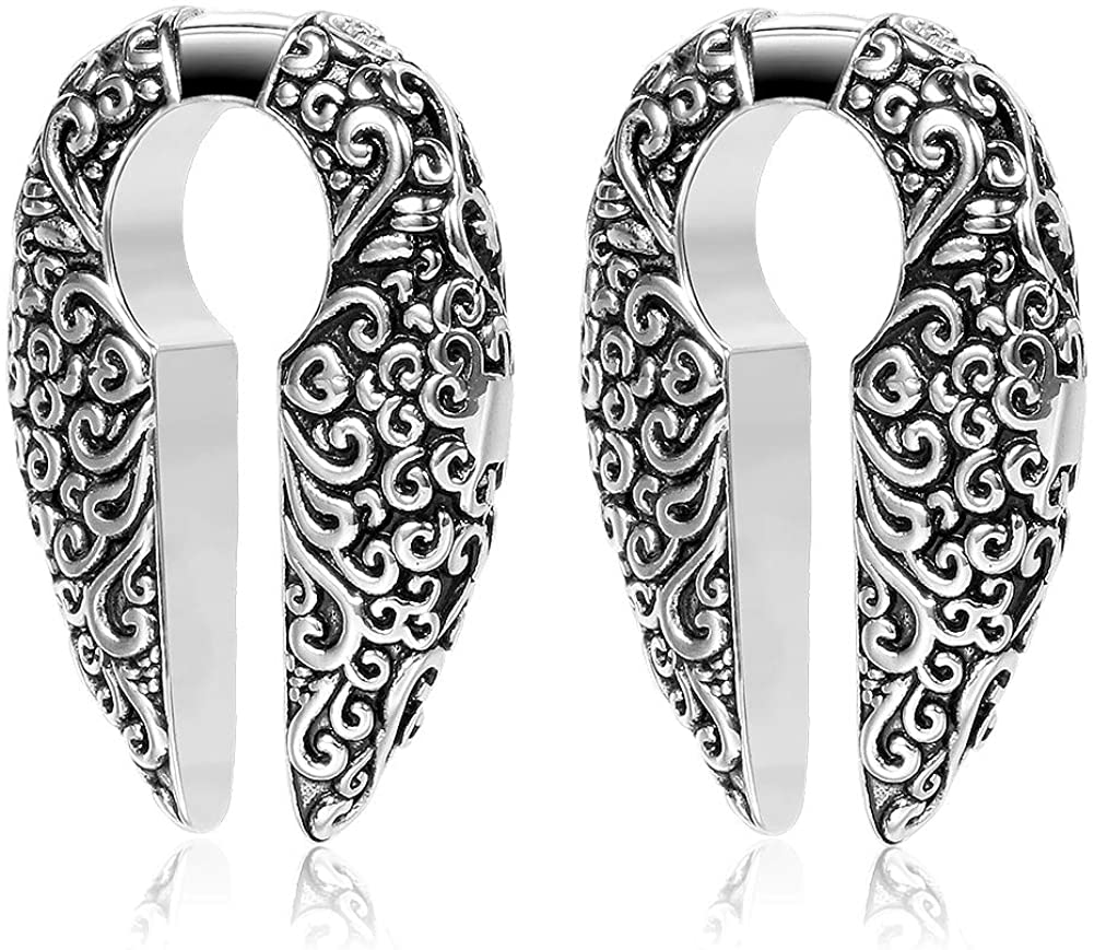 COOEAR 1 Pair Steel Ear Weights, Upgrade Gauges for Ears, Elegant Flesh Tunnels and Plugs Piercing Earrings 2g 6mm 0g 8mm.
