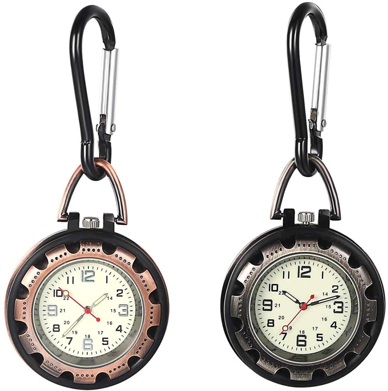 JewelryWe Men Women Clip-on Quarzt Watch Backpack Fob Belt Watch Night Light Pocket Watch for Rock Climbing Doctors Nurses Outdoor Activities