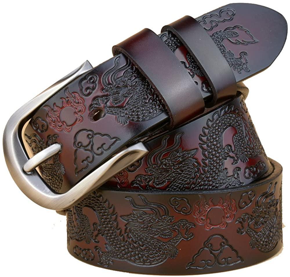 Shindn Men's Dragon Design Leather Reversible Belt Gift
