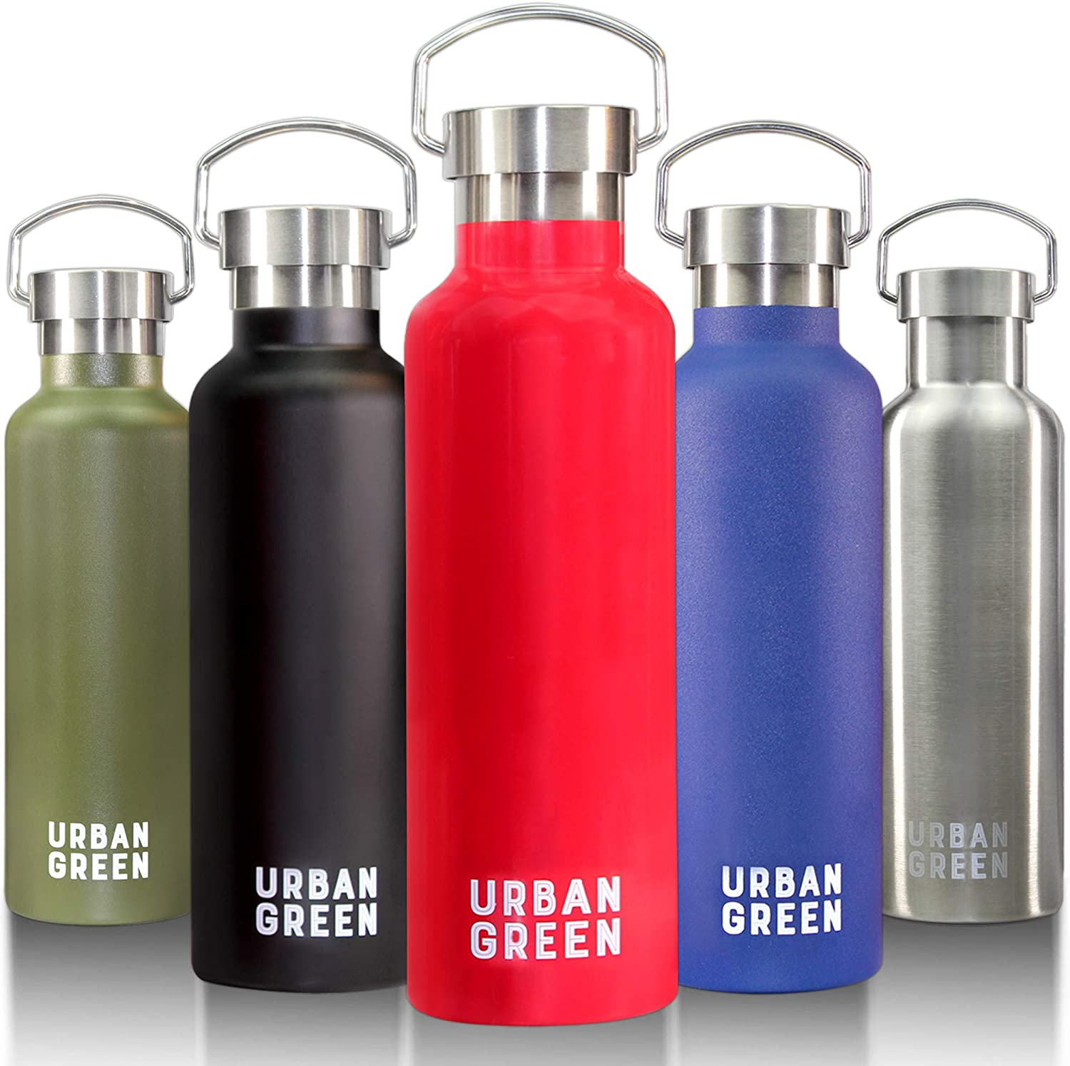 Stainless Steel Water Bottle 25OZ Urban Green, Vacuum Insulated Water Bottle, 18/8 Double Wall Sports Water Bottle, Wide Mouth, Powder Coated, Mother's Day Gift (Coral Red)