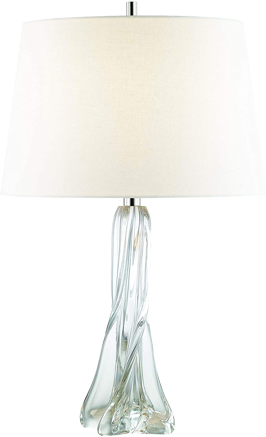 Hudson Valley Lighting L1029-PN 1 Light Table Lamp with Off White Belgium Linen Shade, Polished Nickel Finish