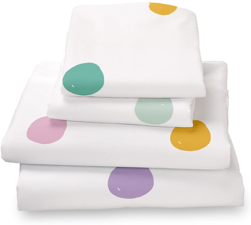 Where the Polka Dots Roam Twin Size Bed Sheets Colorful Polka Dot 3 Piece Set │ Unisex, Flexible Microfiber, Durable, Wrinkle-Resistant, Stain-Resistant Bedding │ Boys, Girls, Baby, Kids, Toddler Teen