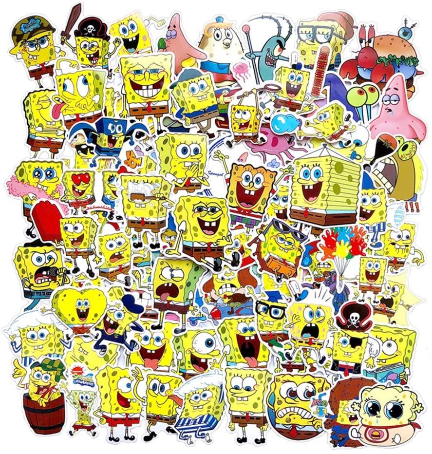 Spongebob Squarepants Stickers,Waterproof Cartoon Vinyl Stickers for Water Bottle and Laptop DIY Decorative Gift, Best Gift for Kids,Children,Teen(100pcs)