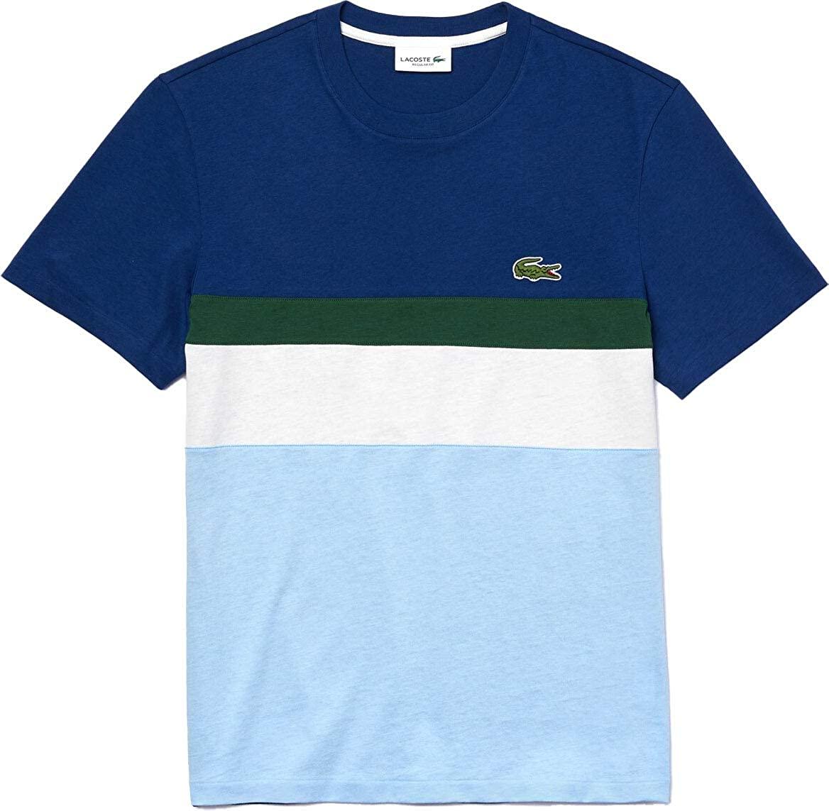 Lacoste Mens Short Sleeve Colorblocked Stripe T-Shirt
