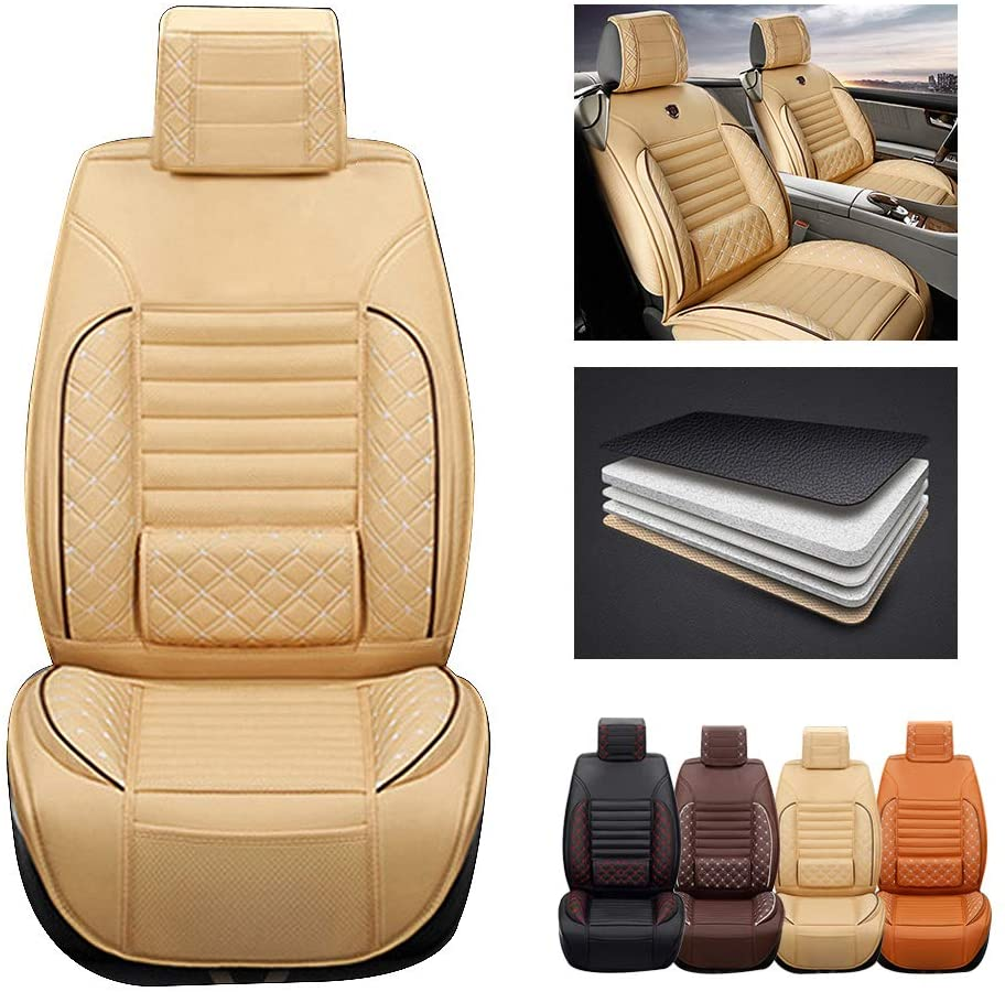 ytbmhhuoupx for Jeep Compass 5-Seats Car Seat Covers PU Leather Waterproof Seats Cushion fit All Season - Front Row Standard Edition Beige