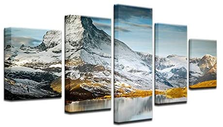 Canvas Painting Wall Pictures 5 Panel Snow Mountain Lake Landscape Poster for Living Room Home Decor Abstract Painting On Canvas