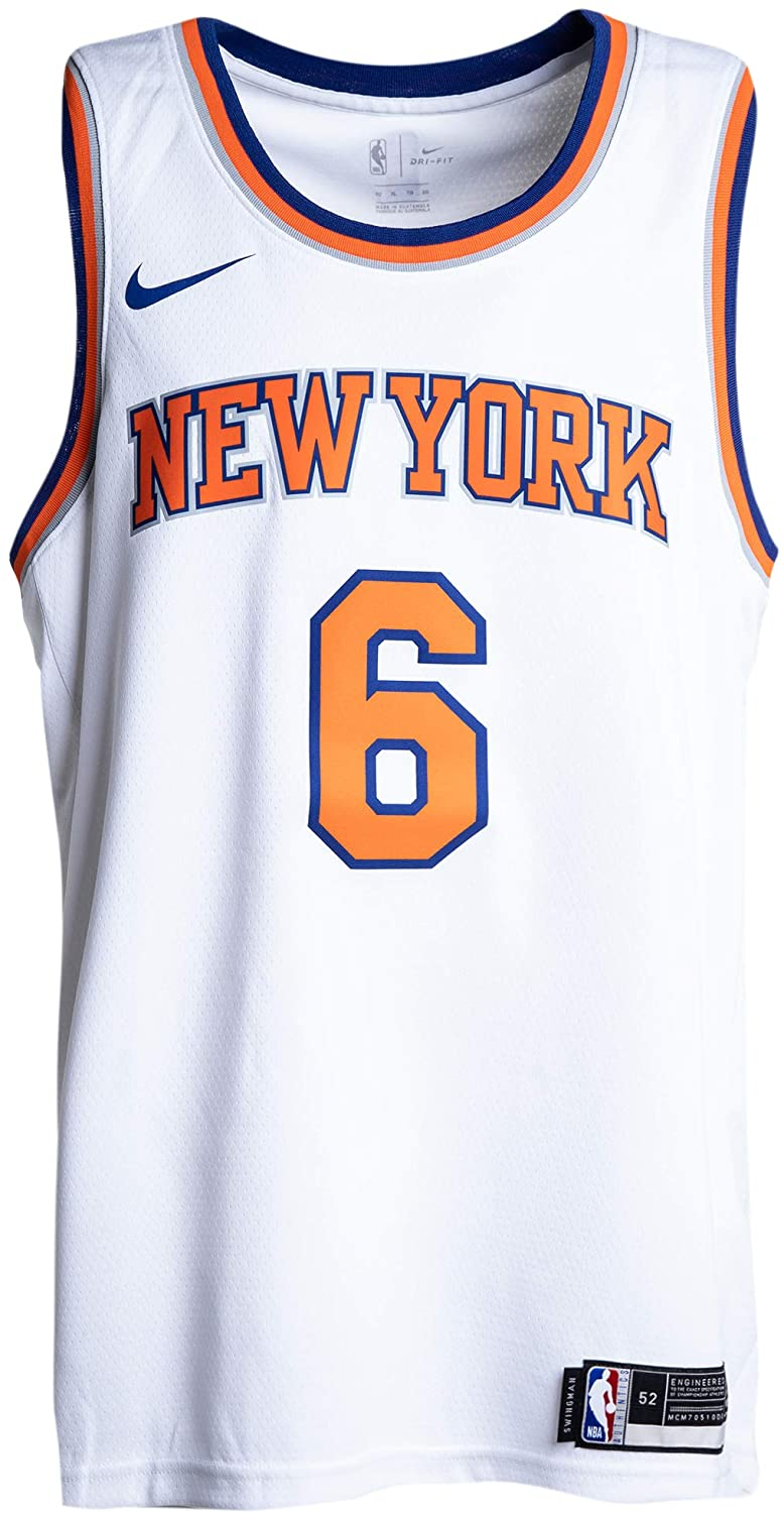 Nike Mens New York Knicks Kristaps Porzingis #6 White Swingman Jersey 864435 100