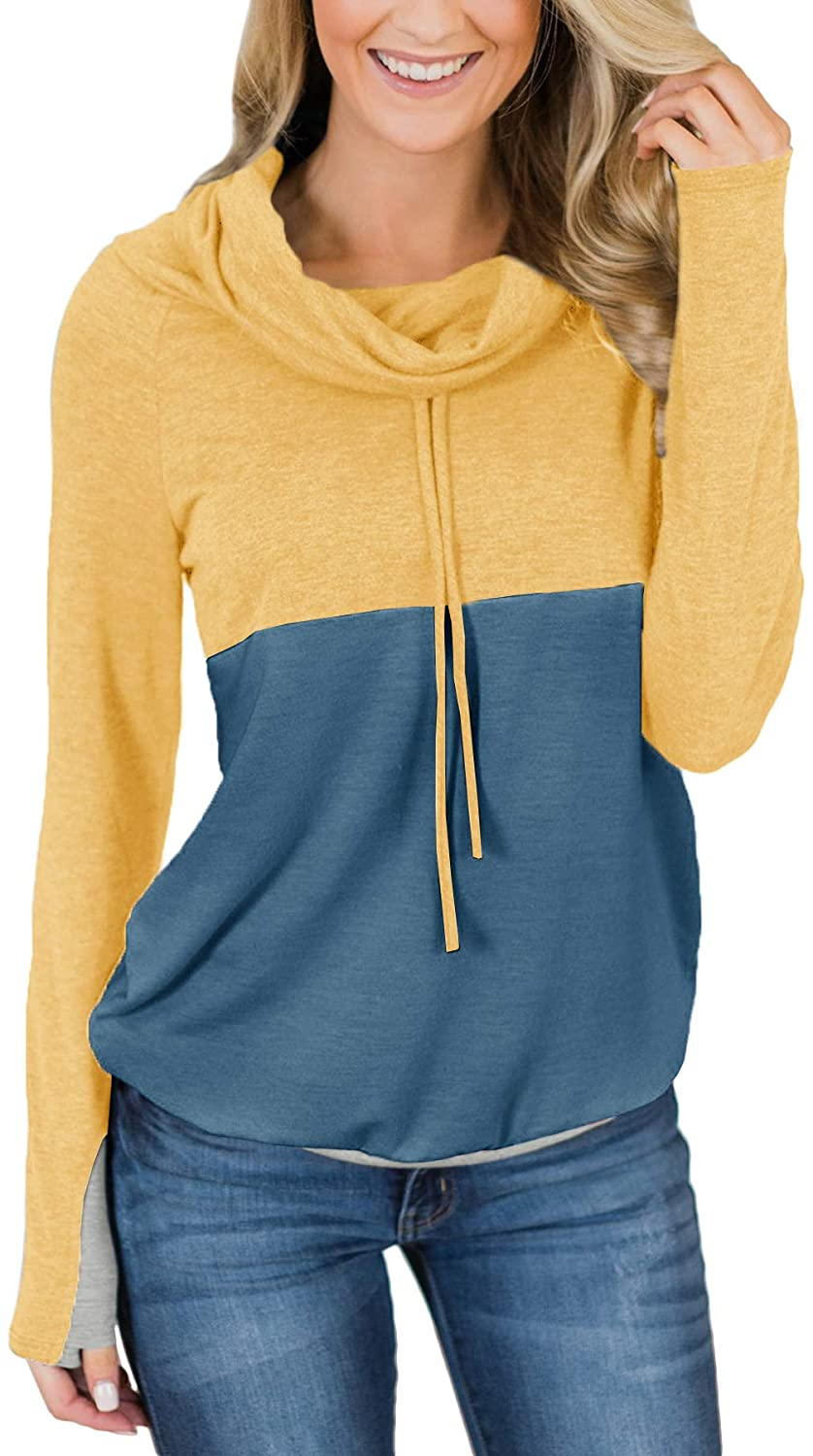 For G and PL Women Color Block Cowl Neck Pullover Sweatshirts with Thumb Holes