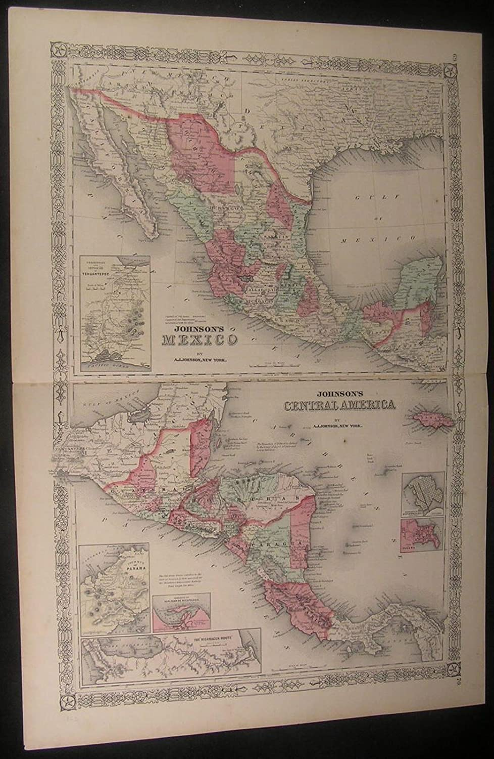 Mexico & Central America Panama Yucatan 1863 antique engraved hand color map