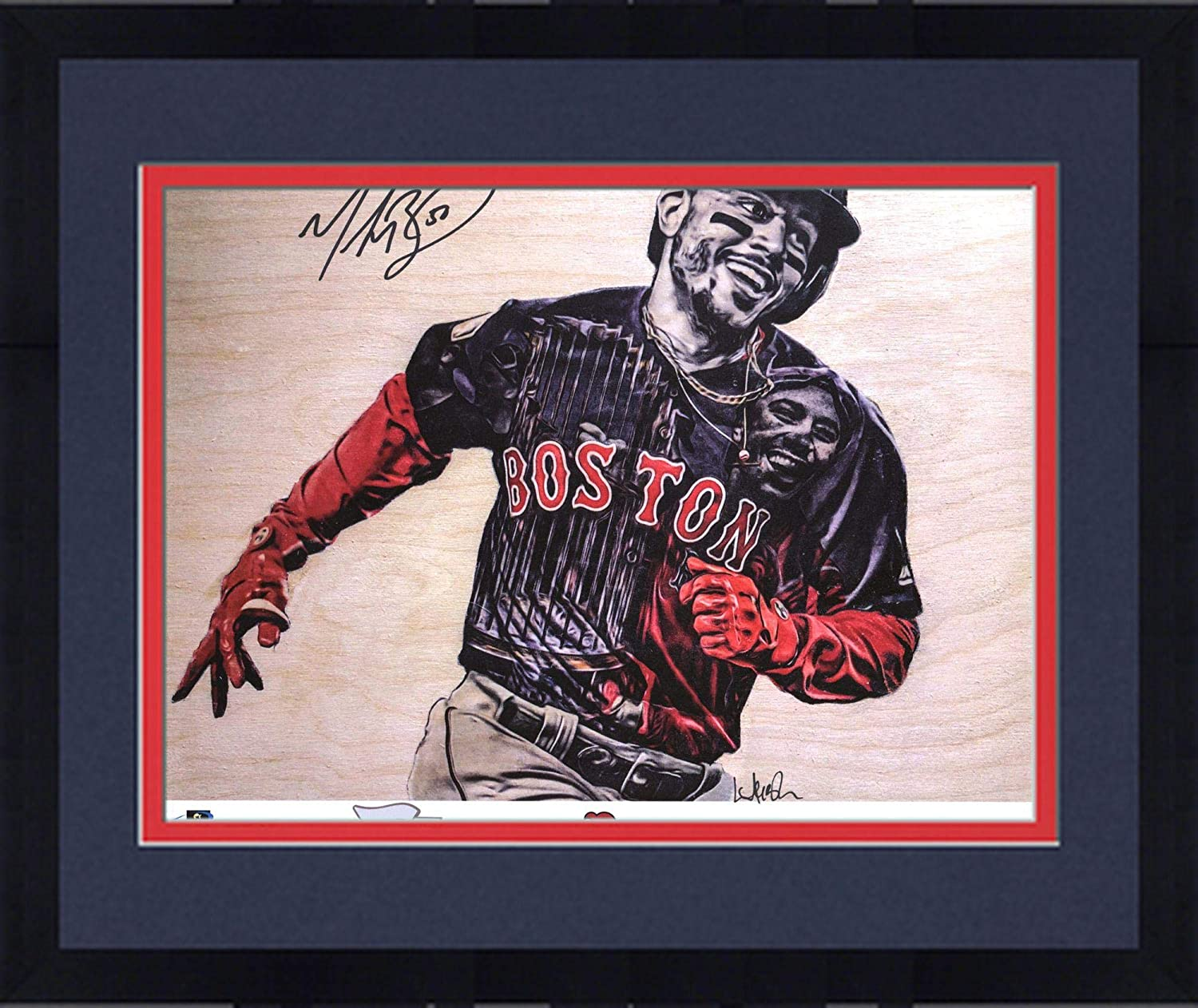 Framed Mookie Betts Red Sox 2018 MLB World Series Champions Artist and Player Signed 8