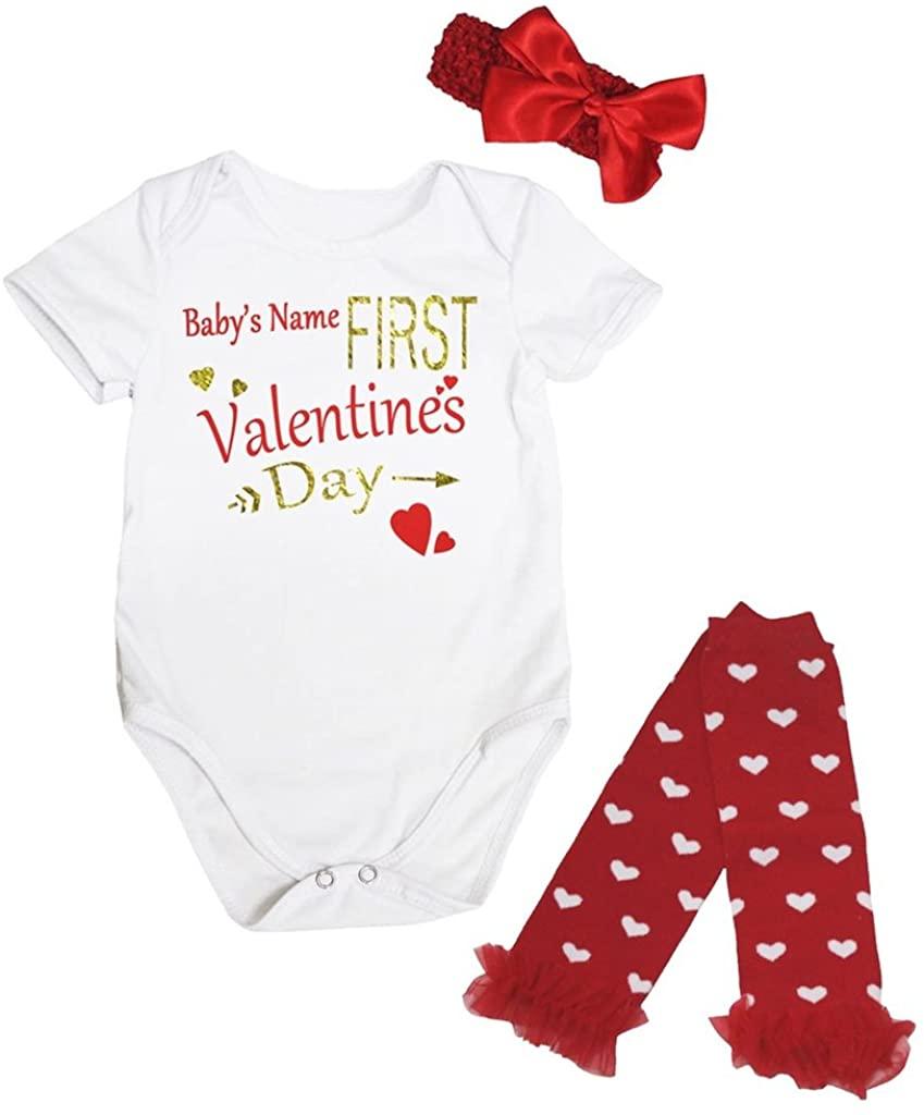 Petitebella Named First Valentine's Day White Bodysuit Romper Leg Warmer Nb-18m