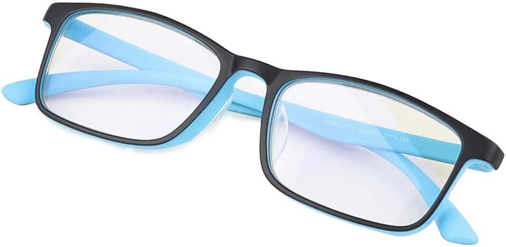 Glasses Blue Light Blocking for Women Men - TR-90 Frame Readers Eyeglasses Anti Glare Eye Strain Light Weight,Black Blue,+2