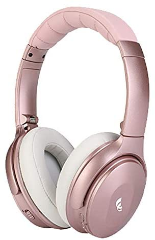 XINWU 801 Active Noise Cancelling Bluetooth Headphone w/Soft Protein Earmuff, High Stereo Surround Sound, Built-in Mic, Wired Mode, 20h Long Battery Life Foldable Light Weight Over Ear Design (Pink)