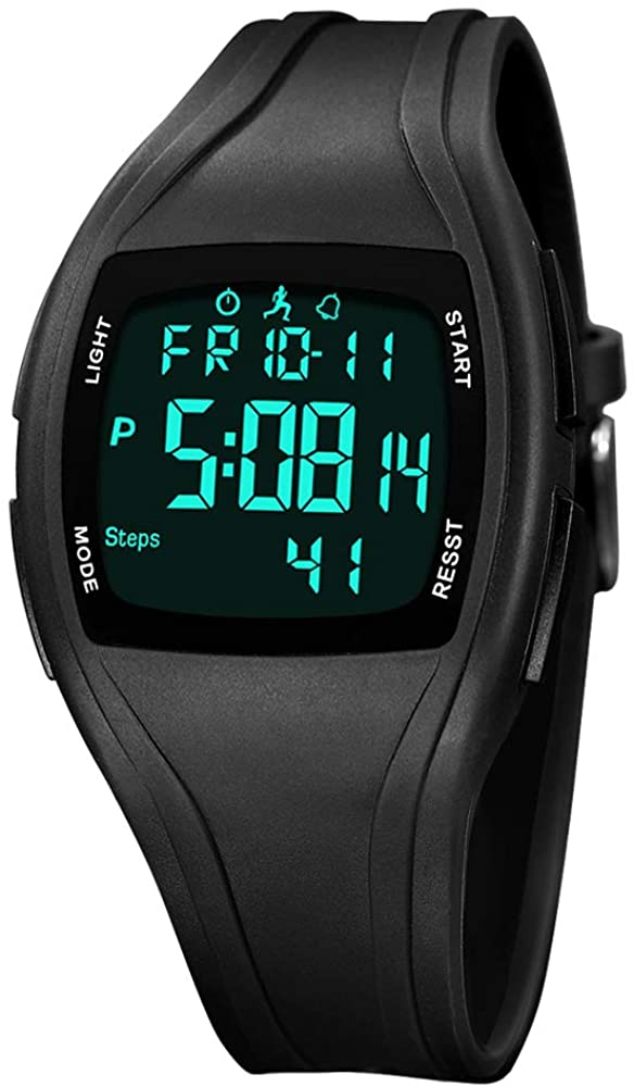 Digital Sport Watch,Digital Watch with Pedometer, Digital Wrist Watches with Alarm Date and Time, Waterproof Digital Watch,Military Sports Watches with Stopwatch,EL Backlit,Mileage,Calorie Counter