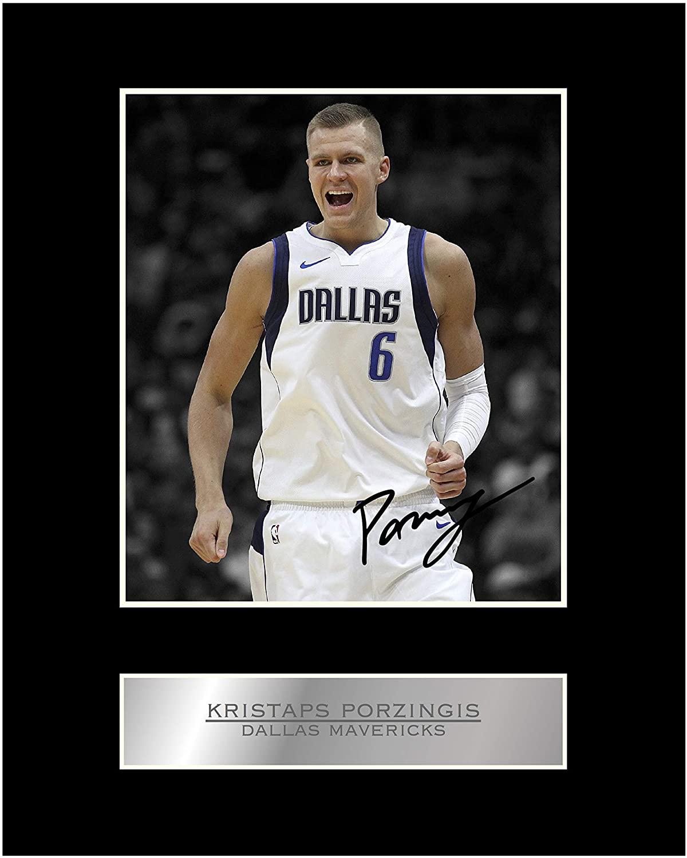 Kristaps Porzingis Signed Mounted Photo Display Dallas Mavericks #01 NBA Printed Autograph Gift Picture Print