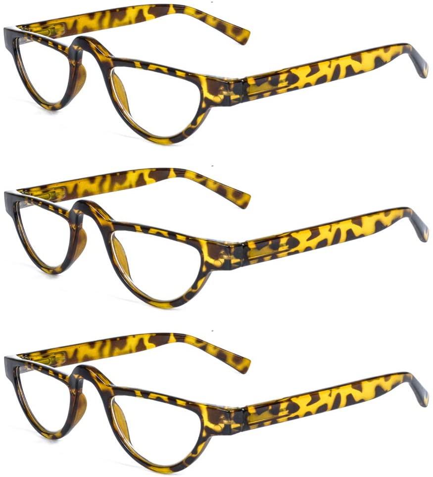 AMILLET Small Cat Eye Reading Glasses Women Men Retro Fashion Readers Ultralight PC Plastic Ladies Full Frame Clear Lenses,Crystal Clear Vision(+3.50 Yellow Tortoise)